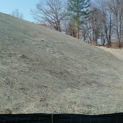 Matting and Hydroseeding of the hillside is complete