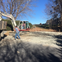 Joel Owen (The Landsman) and Steve Gilliam (Gilliam Construction) donated their services to remove the asphalt from the new playground area.