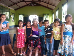 Barbara Hosbein with children in Guatemala